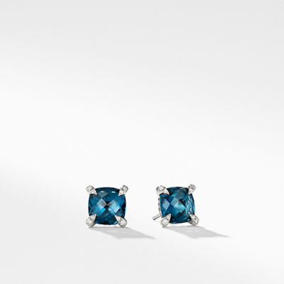 David Yurman 9mm Châtelaine Hampton Blue Topaz Stud