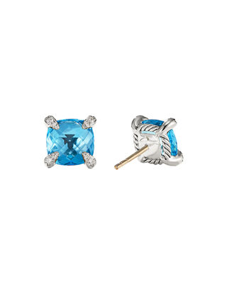 Image 2 of 2: 9mm Châtelaine Hampton Blue Topaz Stud Earrings