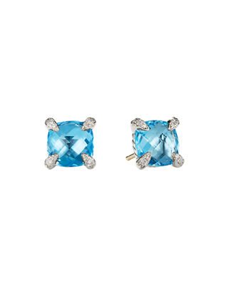 David Yurman 9mm Ch??telaine Hampton Blue Topaz Stud