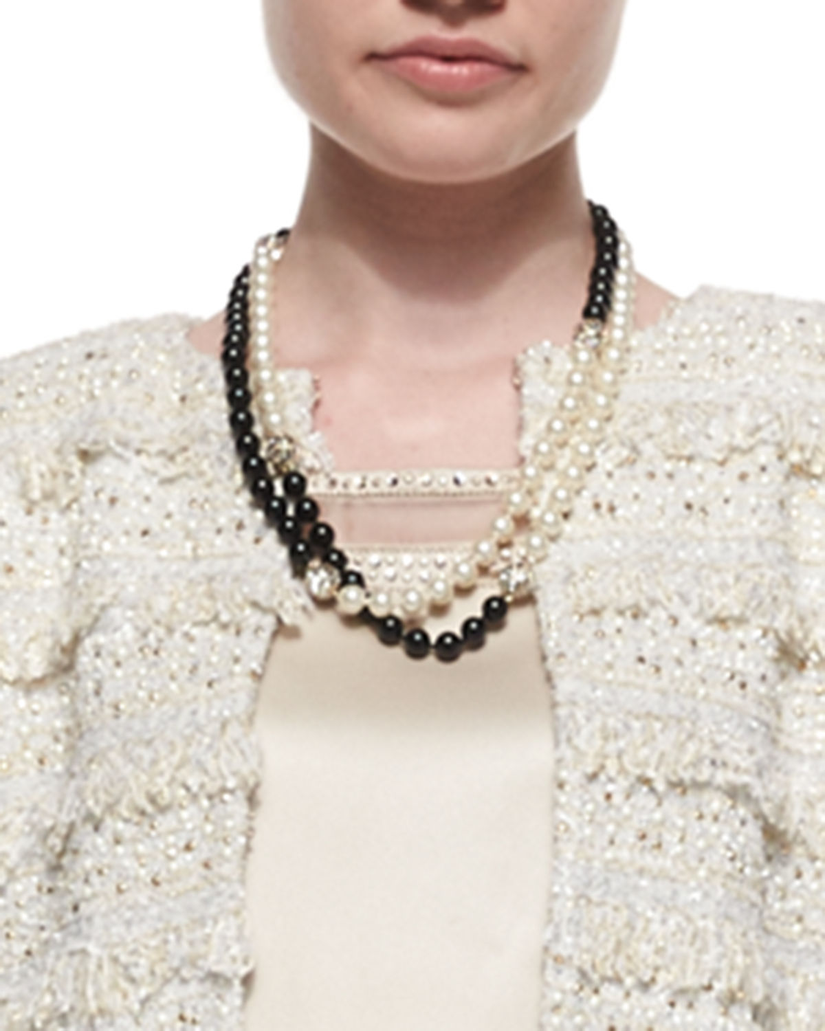 Simulated Two-Tone Pearl Necklace