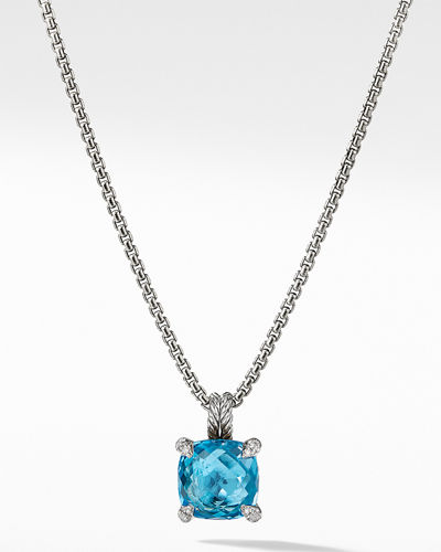 11mm Châtelaine Hampton Blue Topaz Pendant Necklace