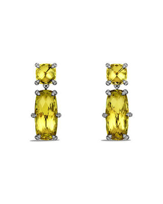 Châtelaine Faceted Drop Earrings with Diamonds