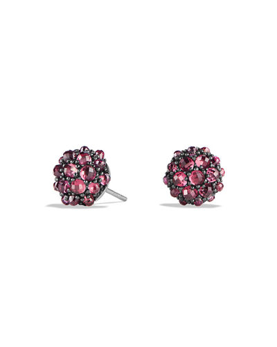 10mm Osetra Rhodolite Garnet Stud Earrings