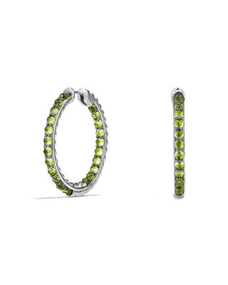 Image 1 of 2: Osetra Faceted Stone Hoop Earrings