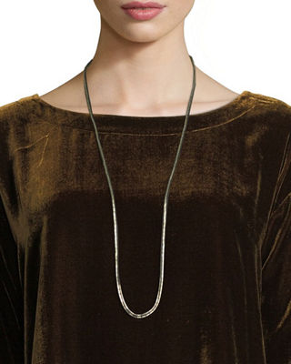Eileen Fisher Hand-Beaded Silk Ribbon Necklace, 37