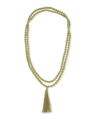 Ariel Long Fabric Tassel Necklace