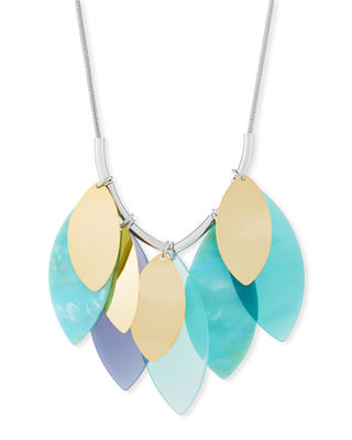 Lafayette 148 New York Multi-Leaf Long Statement Necklace