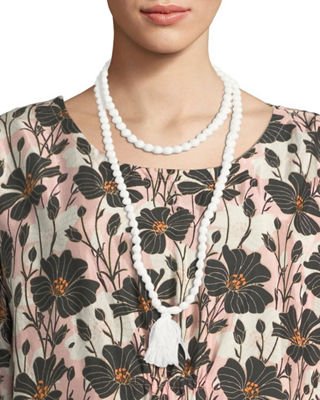 MASAI Ariel Covered Beaded Necklace With Tassel in Cream