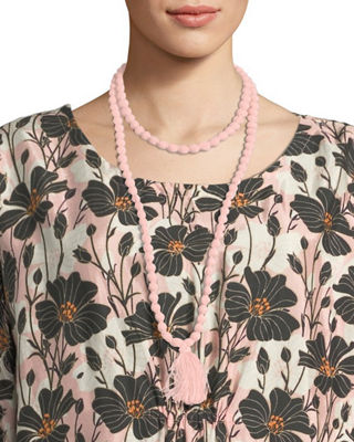 MASAI Ariel Covered Beaded Necklace With Tassel in Rosetan