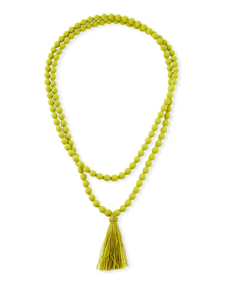Masai Ariel Covered Beaded Necklace with Tassel