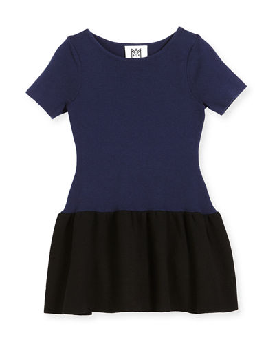 Short-Sleeve Ponte Fit-and-Flare Two-Tone Dress, Size 8-14