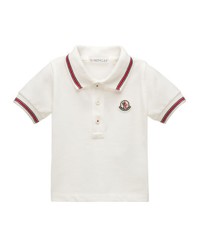 Moncler Short-Sleeve Cotton Jersey Polo Shirt, Size 2-3