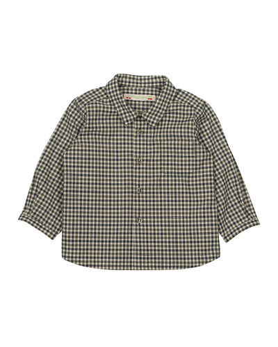 Bonpoint Long-Sleeve Poplin Check Shirt, Size 12M-2