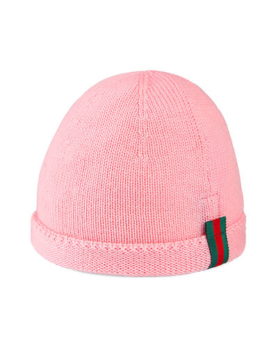 Quick Look. Gucci · Kids  Knit Web Trim Beanie Hat. Available in Pink a17b269f029a