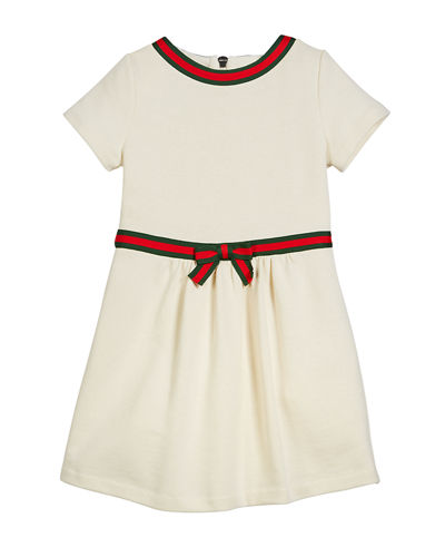 Short-Sleeve Web Ribbon Dress, Size 4-12