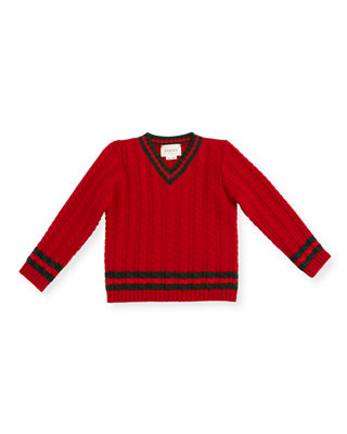 Cable-Knit Wool Sweater, Boys' 9-36 Months