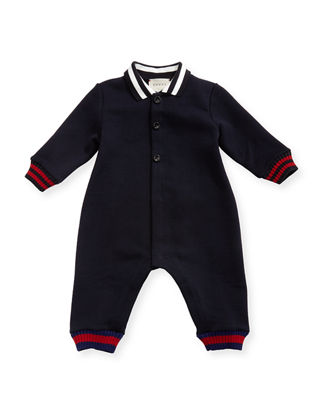 Long-Sleeve Web Knit Collared Coverall, Size 3-18 Months