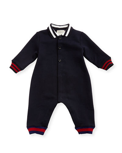 Gucci Long-Sleeve Web Knit Collared Coverall, Size 3-18
