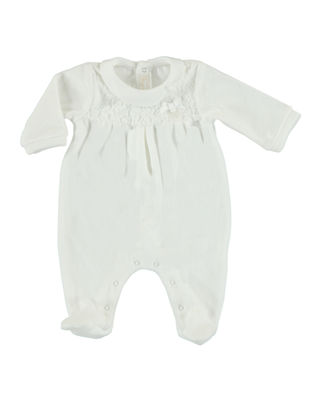 MAYORAL Velour Footie Pajamas w/ Lace Yoke, Size
