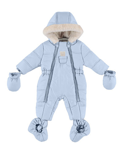 Puffer Snowsuit with Bear in Pocket, Size 4-12 Months