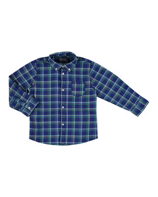 Long-Sleeve Plaid Button-Down Shirt, Size 3-7