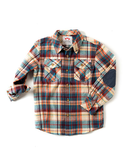 Flannel Elbow-Patch Shirt, Size 2-10