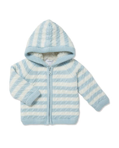 Angel Dear Sherpa Cable Knit Zip-Up Hoodie, Size