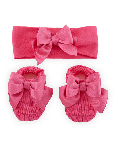Knit Booties and Headband Set w/ Grosgrain Bow Detail, Infant