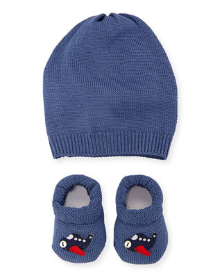 Airplane Booties & Baby Hat Set, Infant