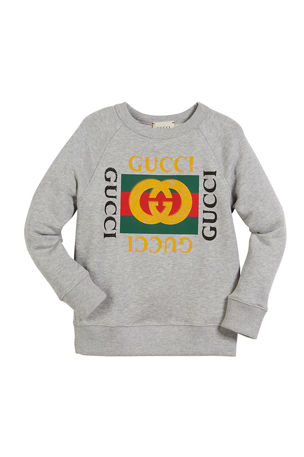 Gucci Long-Sleeve Logo Sweatshirt, Size 4-10