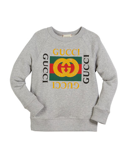 Long-Sleeve Logo Sweatshirt, Size 4-10