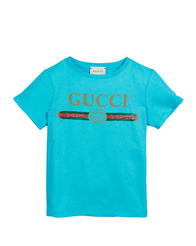 Girl's Vintage Logo Short-Sleeve Jersey T-Shirt, Size 4-10
