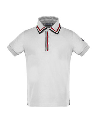 Moncler Short-Sleeve Jersey Polo Shirt w/ Flag Trim,