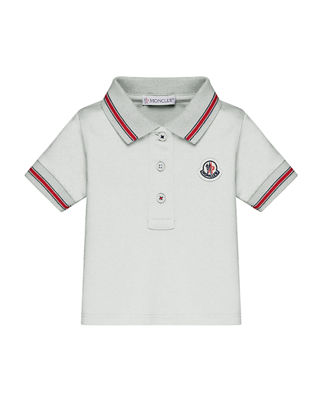 Moncler Short-Sleeve Tipped Polo Shirt, Size 12M-3T
