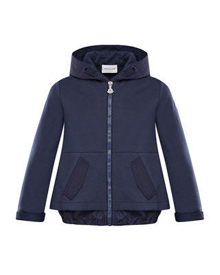 Moncler Hooded A-Line Zip-Up Cardigan, Size 4-6