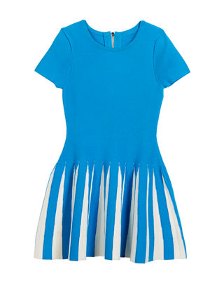 Pleated Contrast Flare Dress, Size 8-14