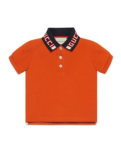 Short-Sleeve Polo w/ Knit Logo Collar, Size 12-36 Months