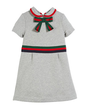 46998b5d1a90 Gucci Web-Trim Bow Felted Cotton Jersey Dress, Size 4-12
