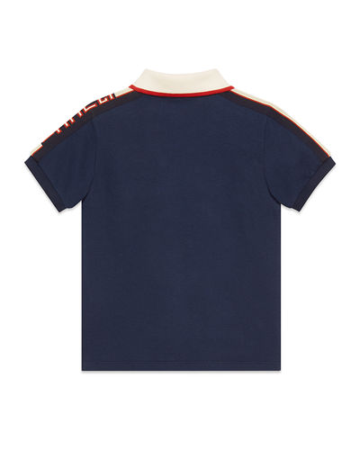 Stretch Cotton Piquet Polo w/ Logo Sleeves, Size 4-12