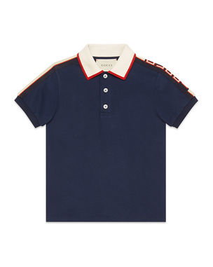 7549d9eecd02 Gucci Stretch Cotton Piquet Polo w/ Logo Sleeves, Size 4-12