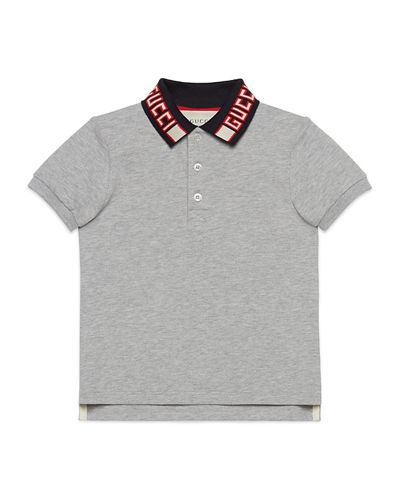 Short-Sleeve Polo w/ Knit Logo Collar, Size 4-12