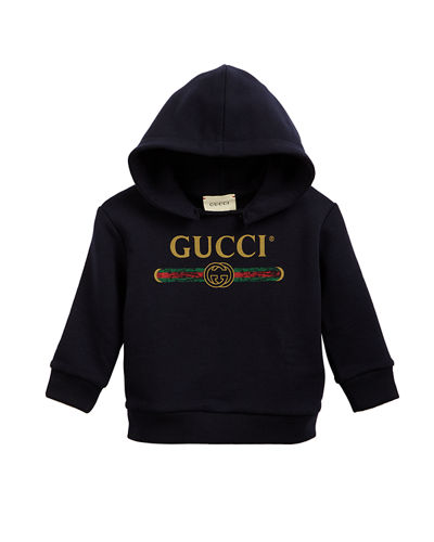 Gucci Vintage Logo Distressed Hoodie, Size 3-36 Months