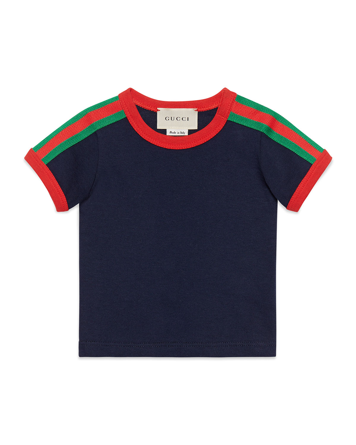 Web Trim Kingsnake Tee, Size 0 36 Months by Gucci