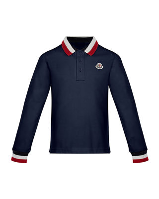 Moncler Maglia Long-Sleeve Polo Shirt, Size 8-14 and