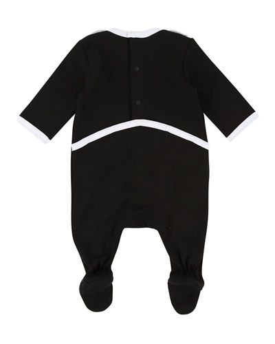 Mini Givenchy Contrast-Trim Footie Pajamas, Size 3-9 Months