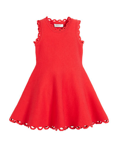 Eyelet Fit-and-Flare Dress, Size 8-14