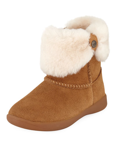 UGG Ramona Suede Boot w/ Shearling Cuff, Toddler