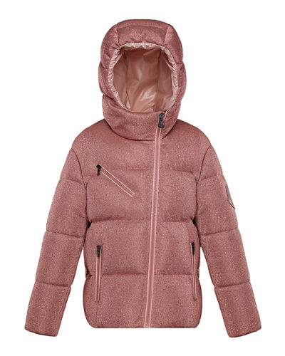 Taurua Metallic Asymmetric-Zip Quilted Jacket, Size 4-6