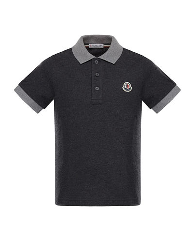 Two-Tone Short-Sleeve Polo Shirt, Size 4-6