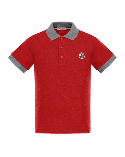 Two-Tone Short-Sleeve Polo Shirt, Size 8-14
